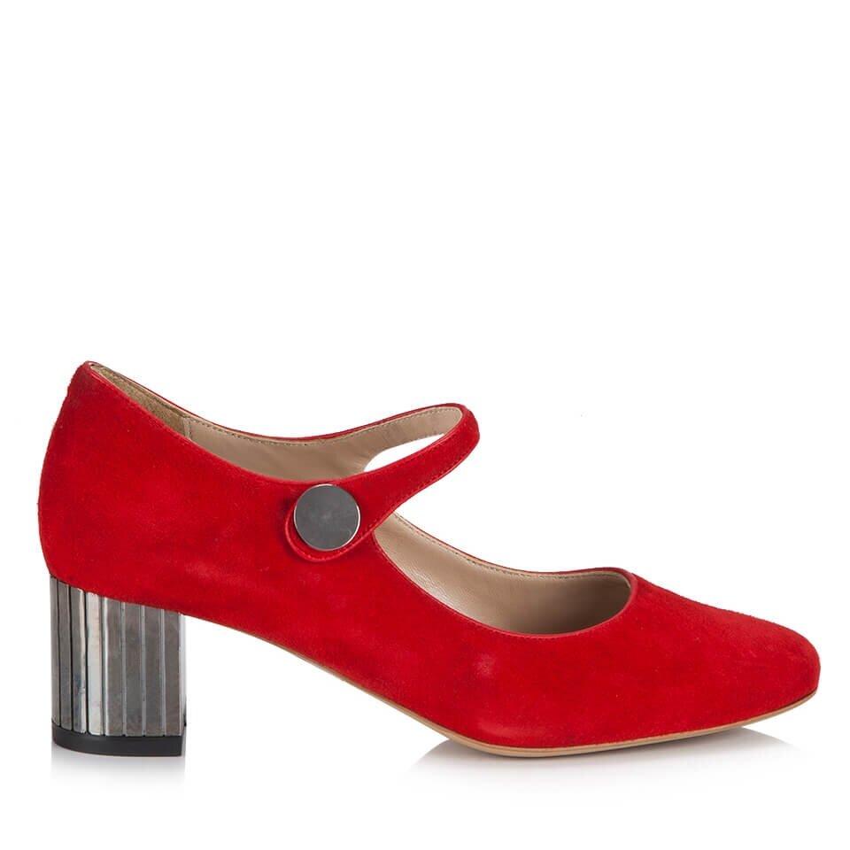 resm Hakiki Deri Kırmızı Kadın Kalın Topuk