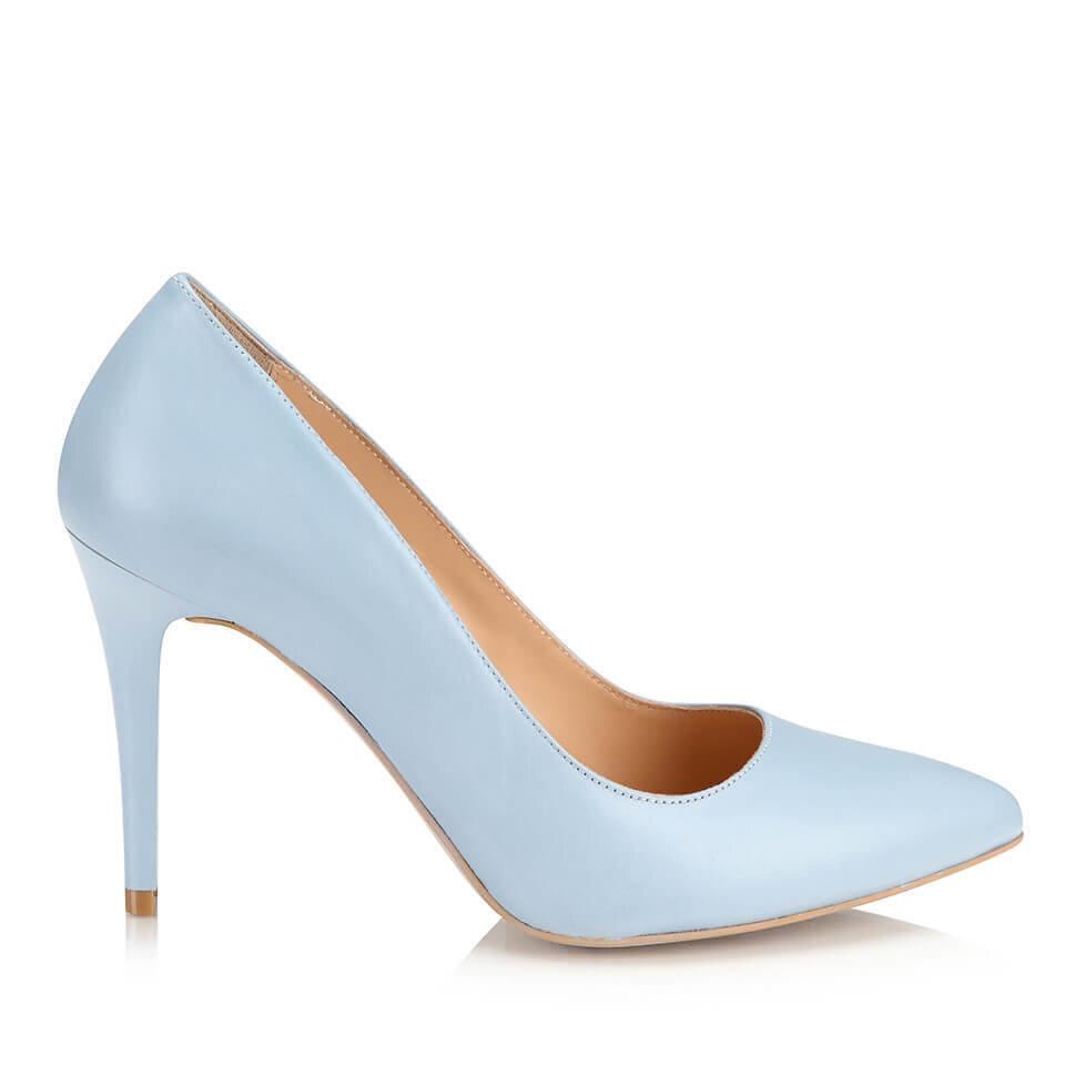 resm Hakiki Deri Mavi Kadın Stiletto