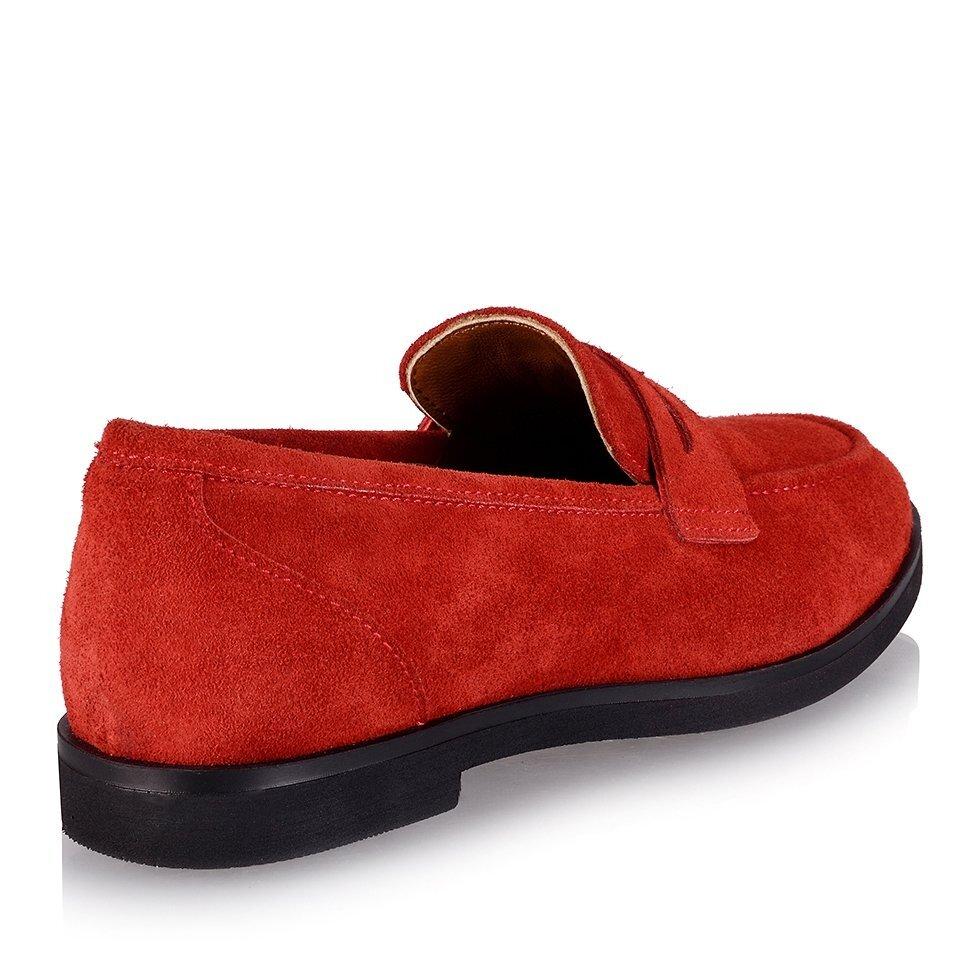 resm Hakiki Deri Kırmızı Kadın Loafer