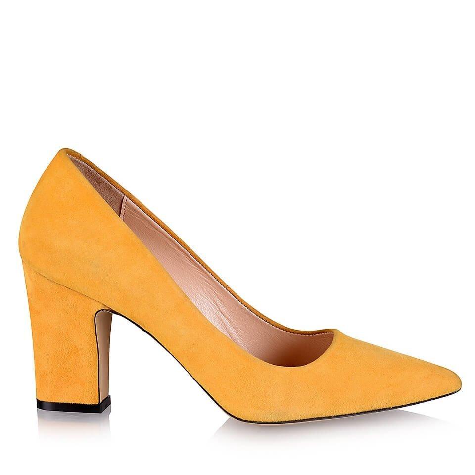 resm Hakiki Deri Sarı Kadın Kalın Topuk