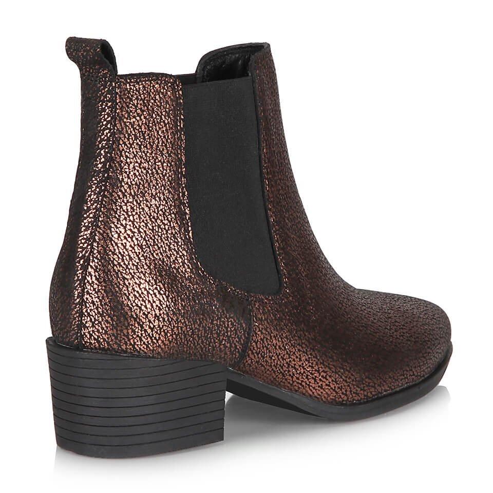 resm Hakiki Deri Bronz Kadın Topuklu Bot