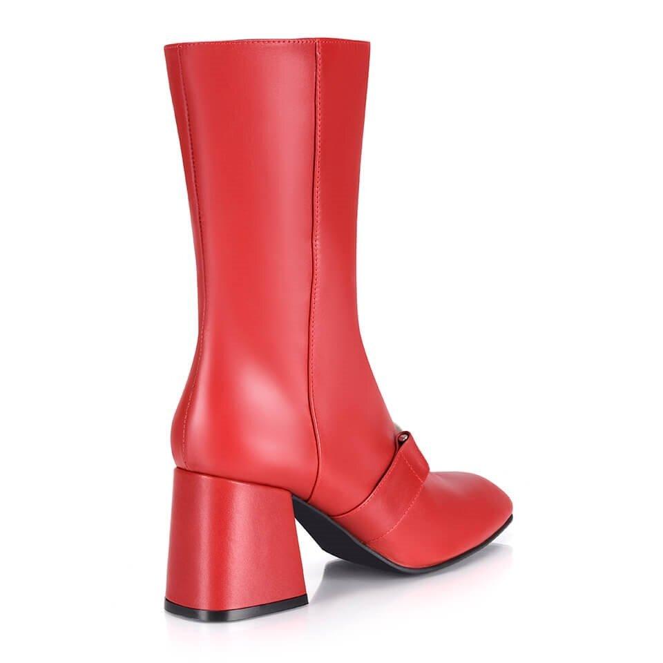 resm Hakiki Deri Kırmızı Kadın Topuklu Bot