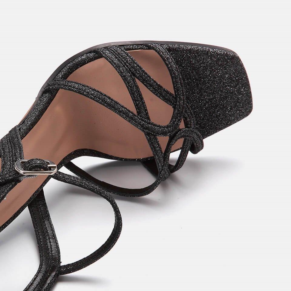 resm Tekstil Antrasit Kadın Topuklu Sandalet
