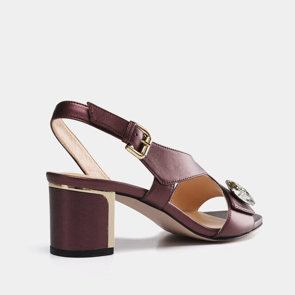 resm Hakiki Deri Bordo Kadın Topuklu Sandalet