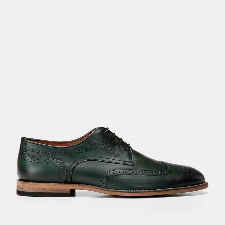 resm Hakiki Deri Yeşil Erkek Klasik Ayakkabı