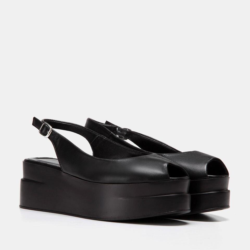 resm Hakiki Deri Siyah Kadın Topuklu Sandalet