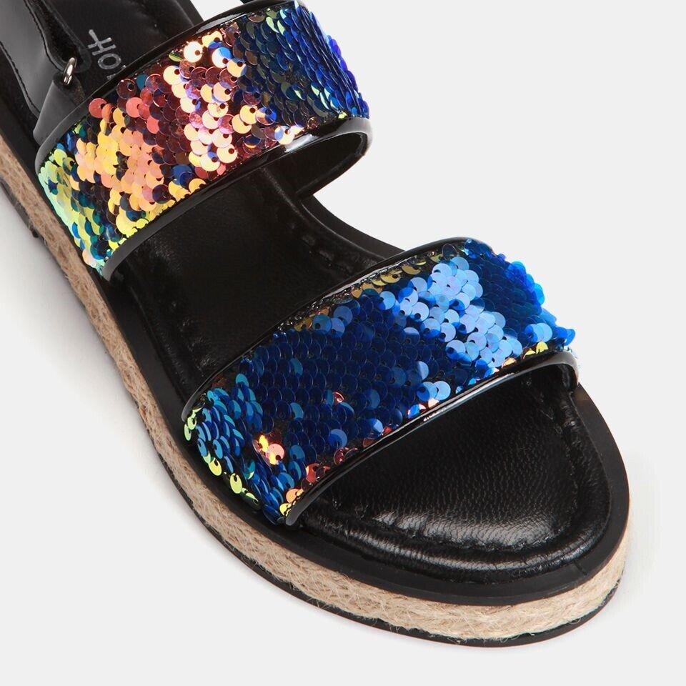 resm Tekstil Lacivert Kadın Düz Sandalet
