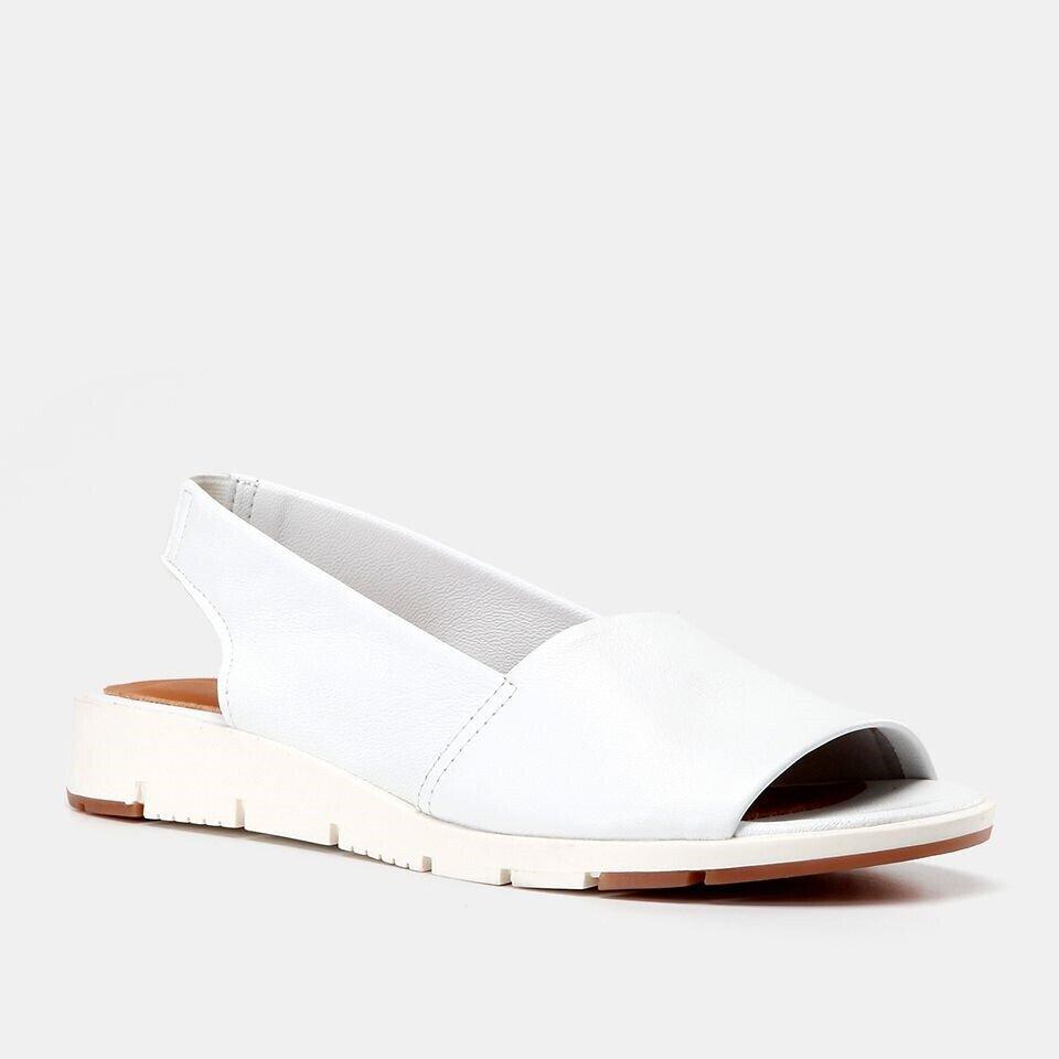 resm Hakiki Deri Beyaz Kadın Düz Sandalet