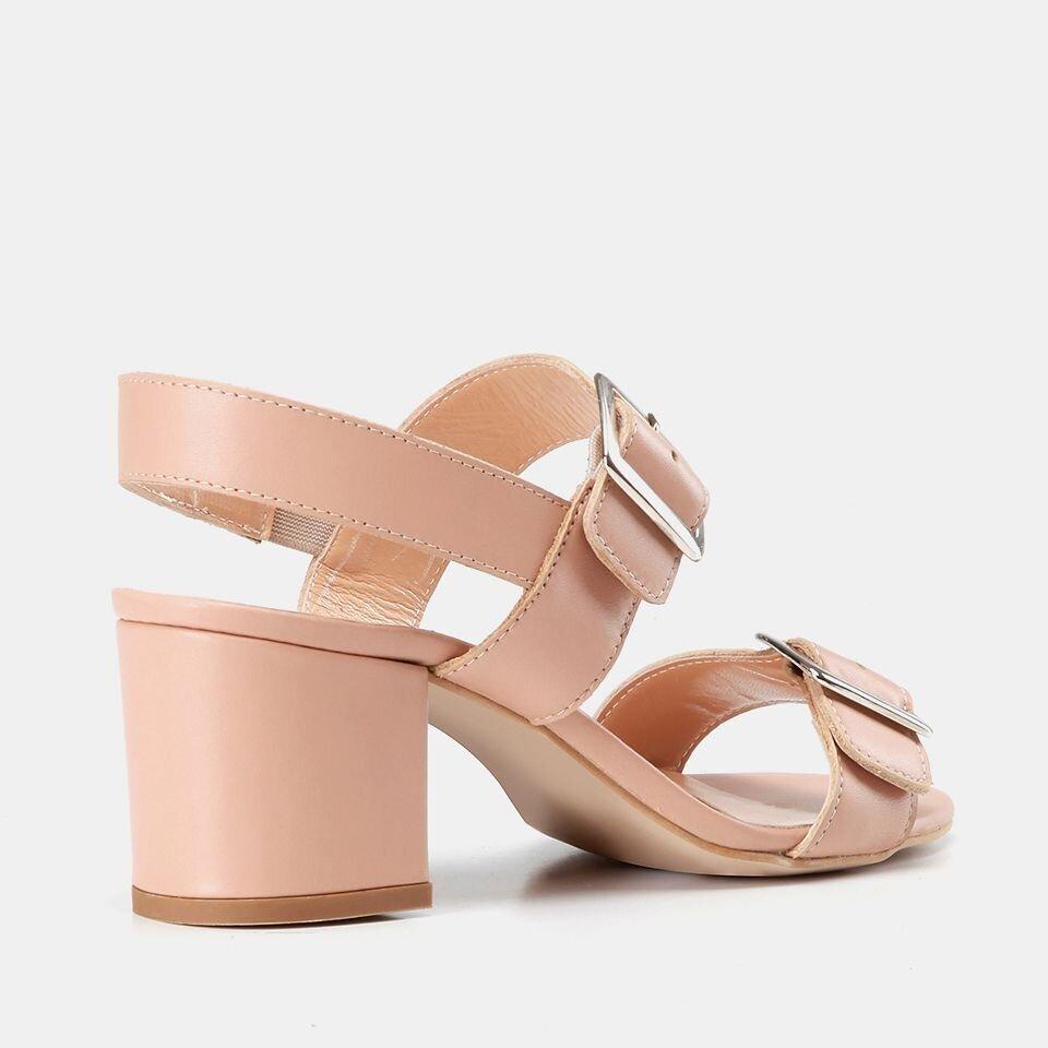 resm Hakiki Deri Naturel Kadın Topuklu Sandalet