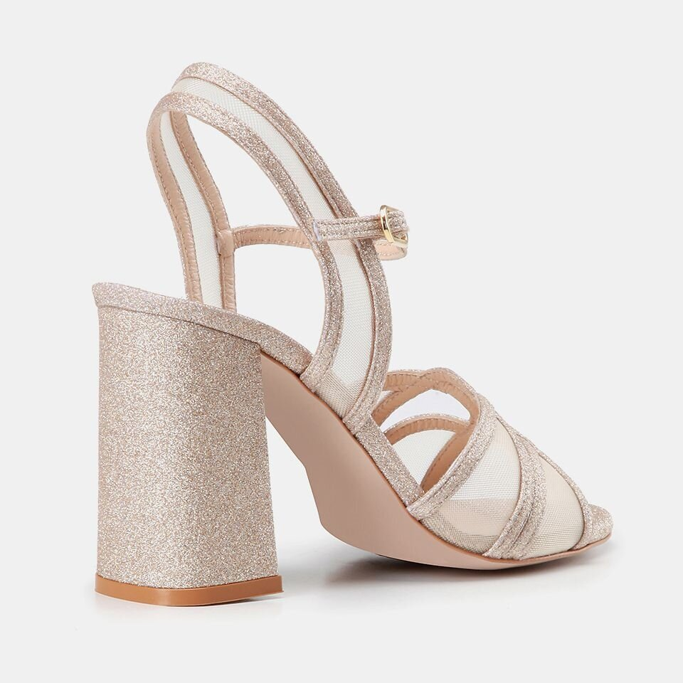 resm Tekstil Bej Kadın Topuklu Sandalet