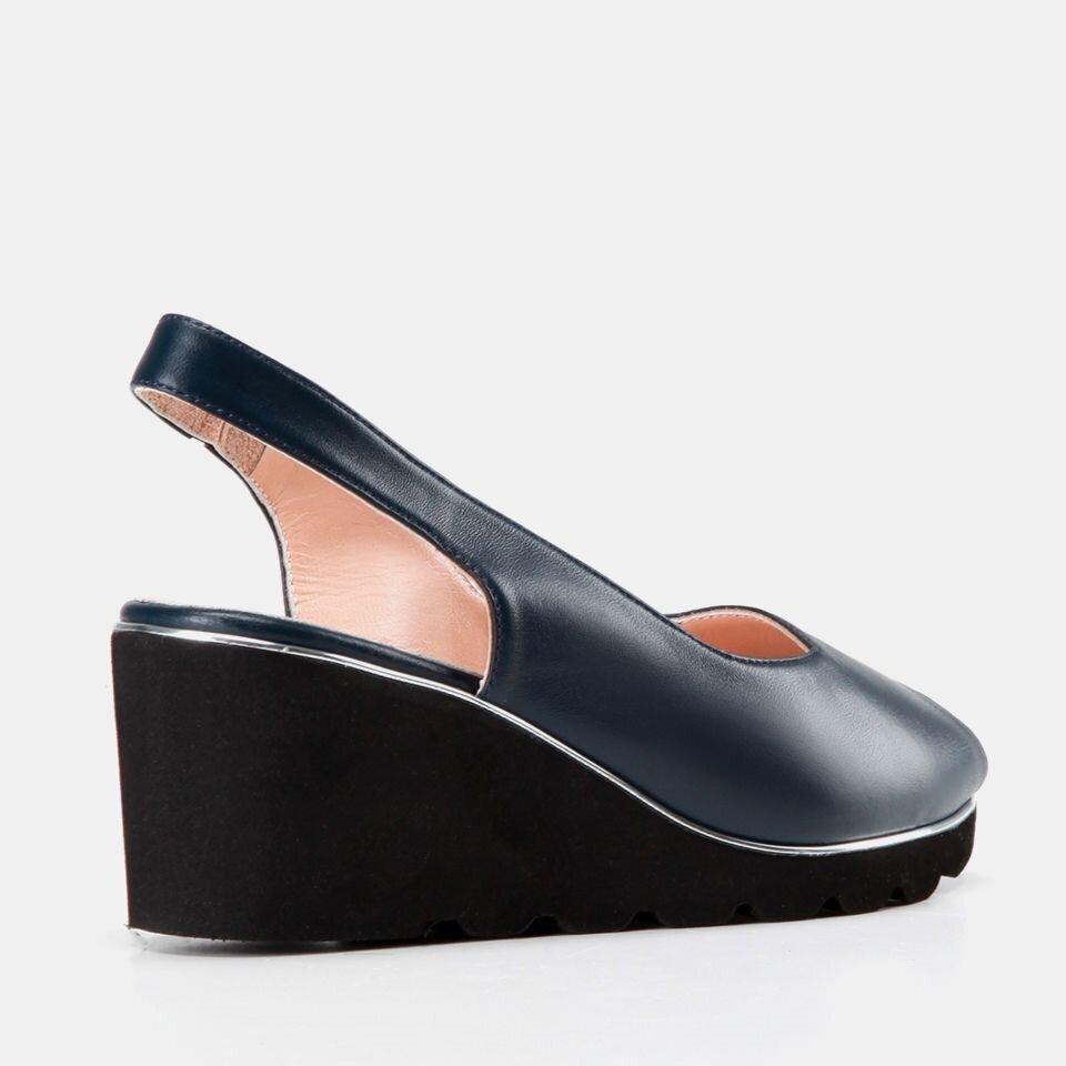 resm Hakiki Deri Lacivert Kadın Topuklu Sandalet