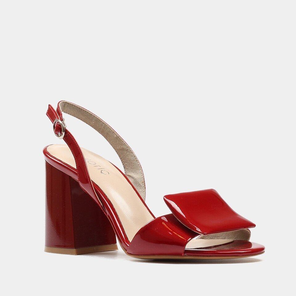 resm Hakiki Deri Kırmızı Kadın Topuklu Sandalet
