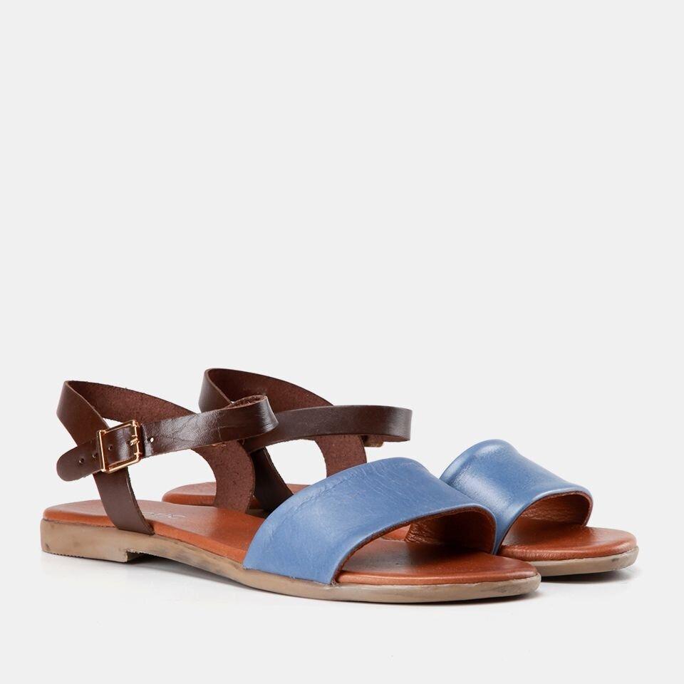 resm Hakiki Deri Mavi Kadın Düz Sandalet