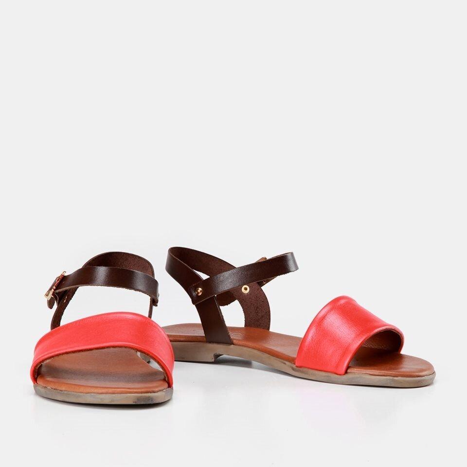 resm Hakiki Deri Kırmızı Kadın Düz Sandalet