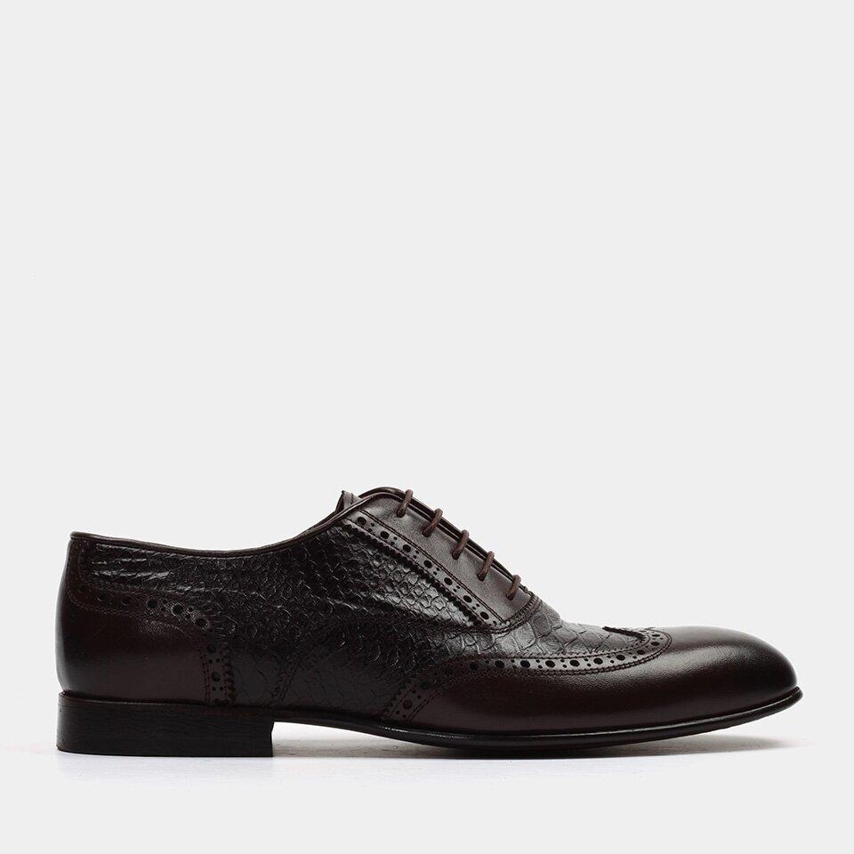 Hotiç - 02AYH151670A480 - Hakiki Deri Kahve Erkek Klasik Ayakkabı