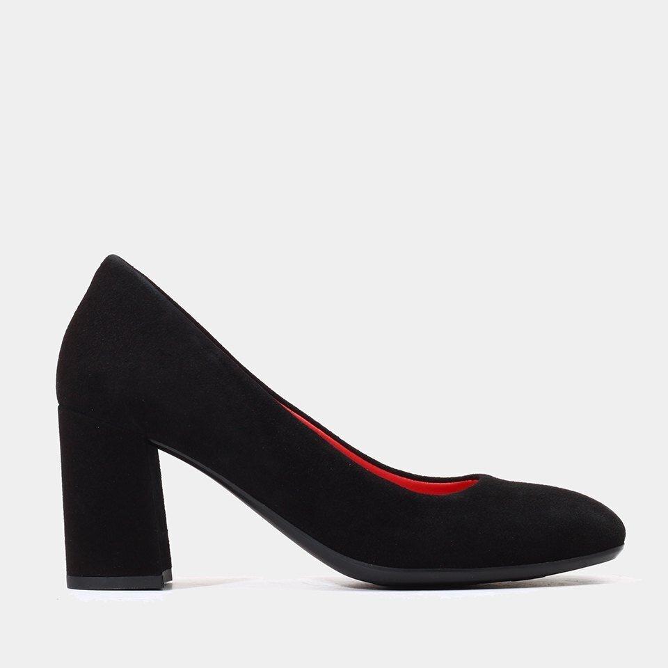 Hotiç - 01AYH154570A100 - Hakiki Deri Siyah Kadın Kalın Topuk