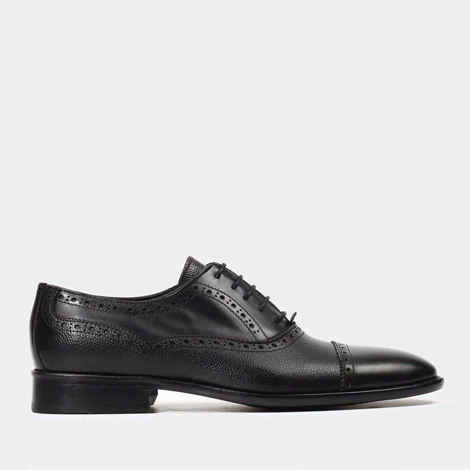 Hotiç - 02AYH151680A100 - Hakiki Deri Siyah Erkek Klasik Ayakkabı