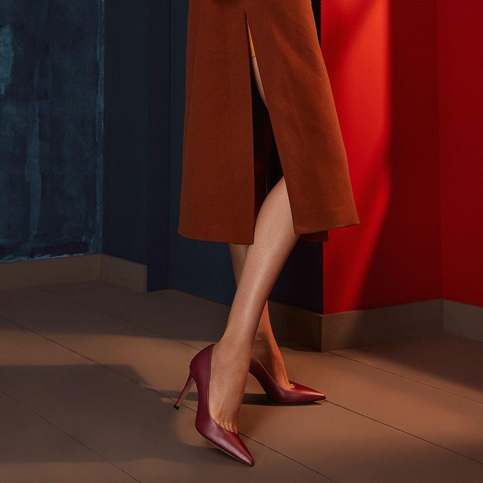 resm Hakiki Deri Bordo Kadın Stiletto