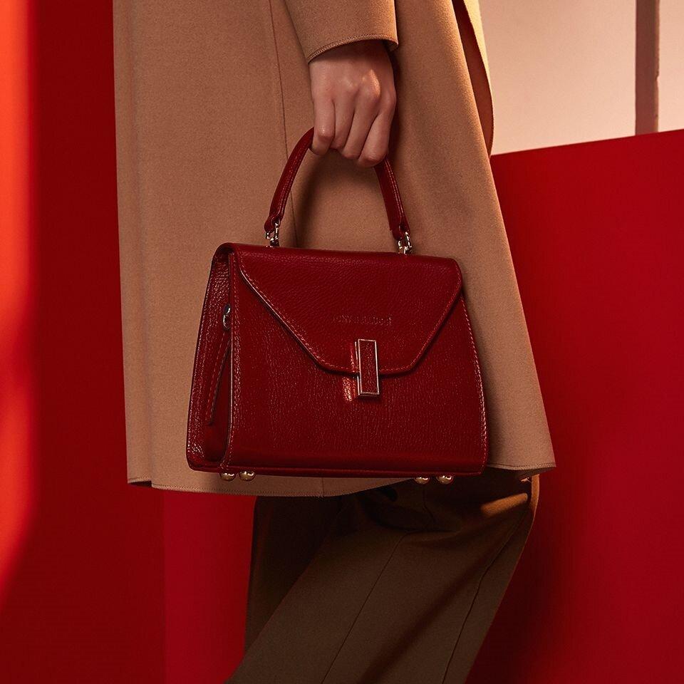 resm Hakiki Deri Kırmızı Çanta&Aksesuar Mini (Çapraz) Çanta