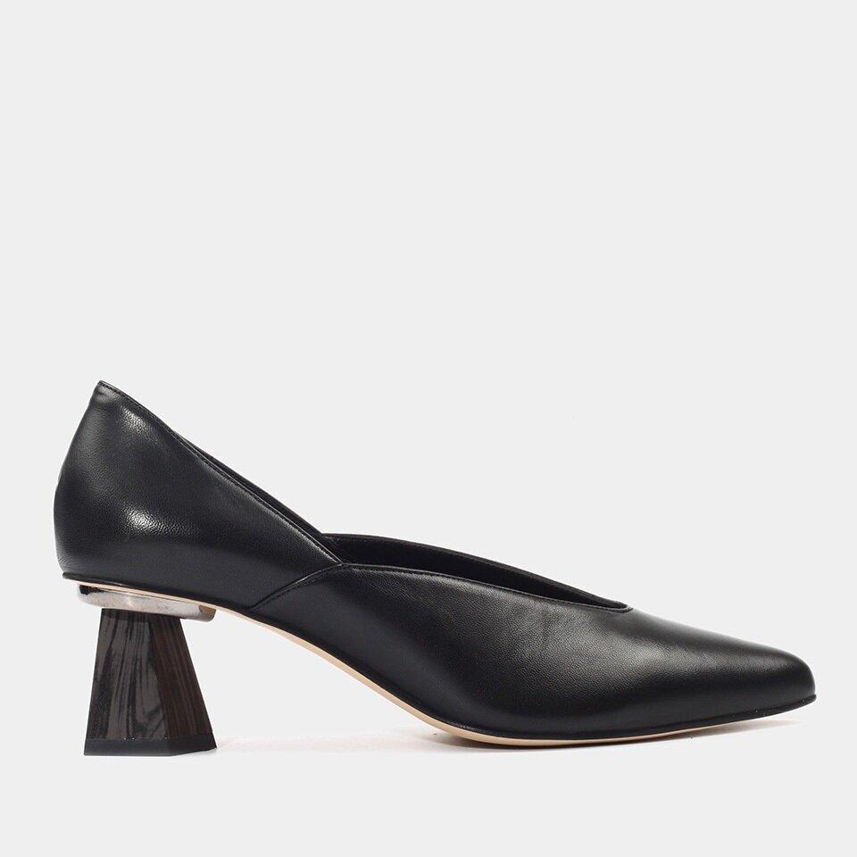 Hotiç - 01AYH156100A100 - Hakiki Deri Siyah Kadın Kalın Topuk