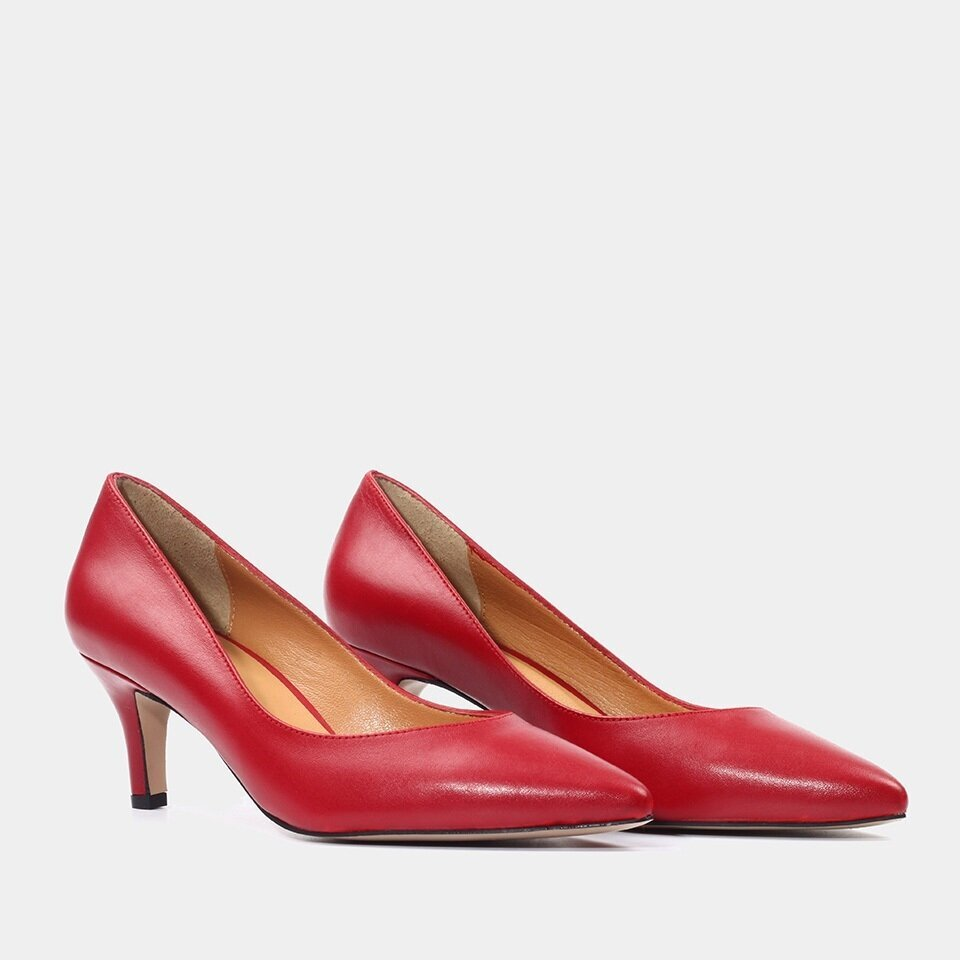 resm Hakiki Deri Kırmızı Kadın Stiletto