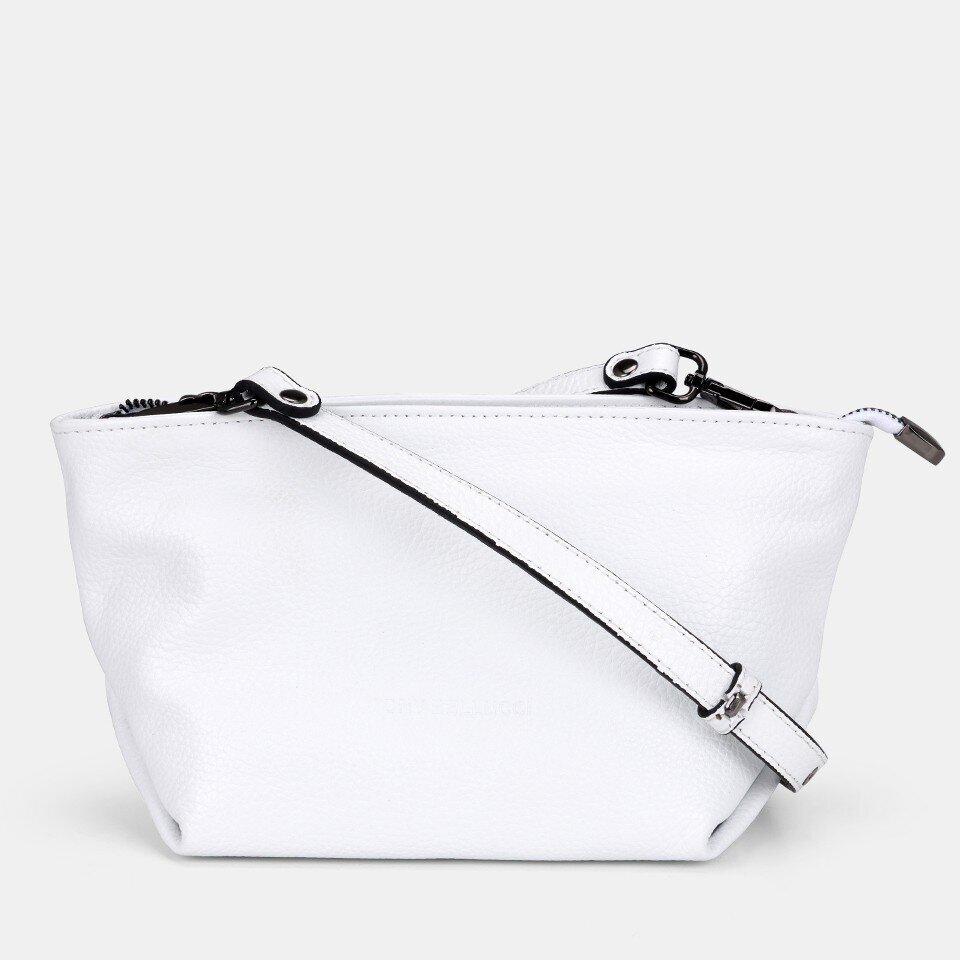 Hotiç - 03CAH172290A900 - Hakiki Deri Beyaz Kadın Mini (Çapraz) Çanta