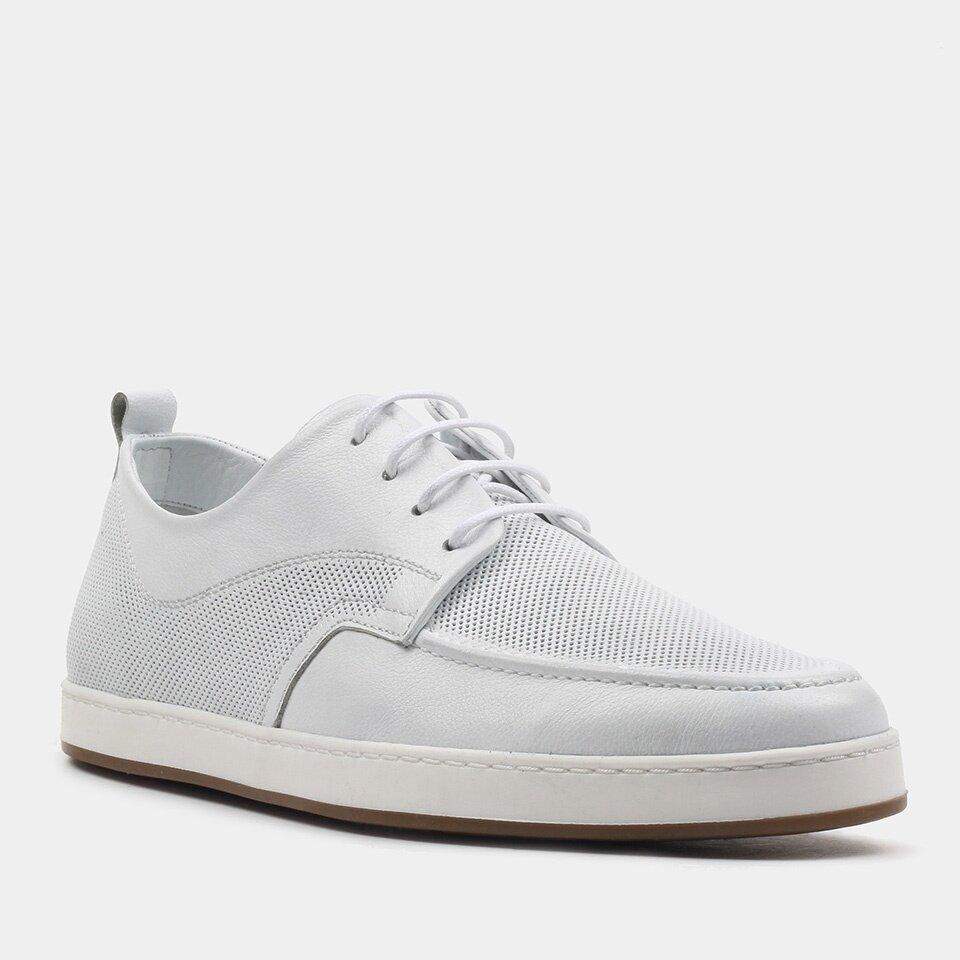 resm Hakiki Deri Beyaz Erkek Günlük Ayakkabı