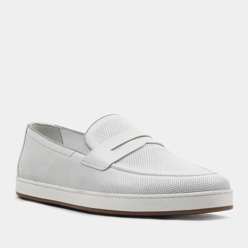 resm Hakiki Deri Beyaz Erkek Loafer