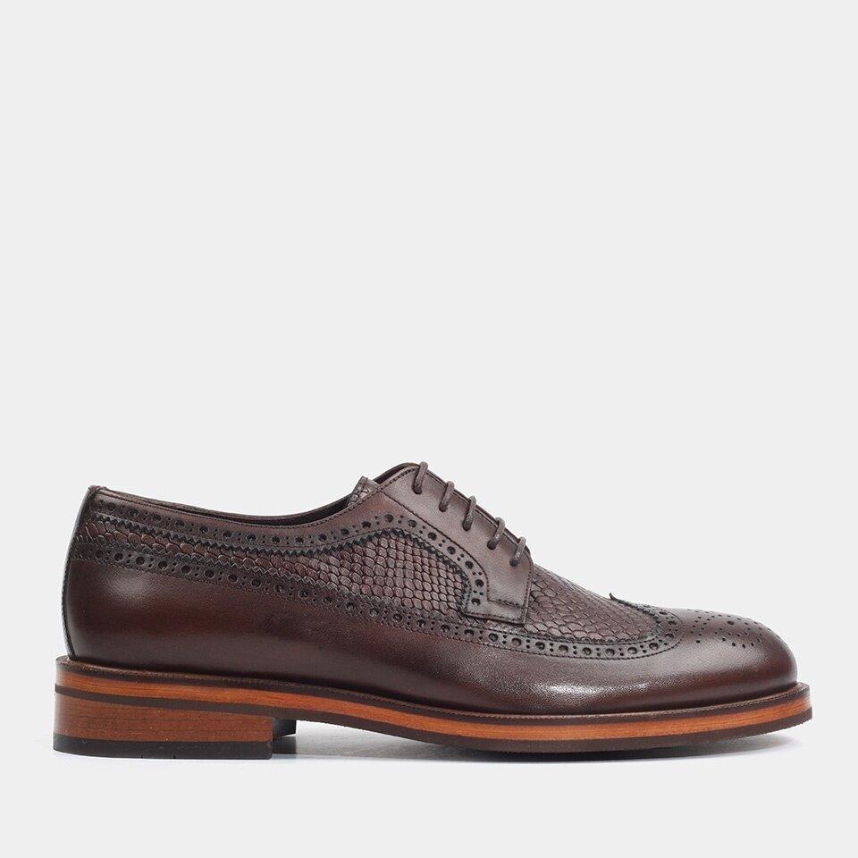 Hotiç - 02AYH176640A480 - Hakiki Deri Kahve Erkek Klasik Ayakkabı