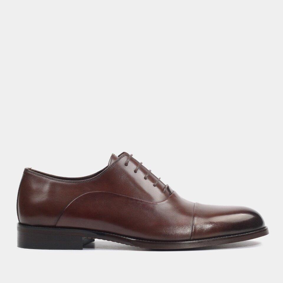 Hotiç - 02AYH176720A480 - Hakiki Deri Kahve Erkek Klasik Ayakkabı