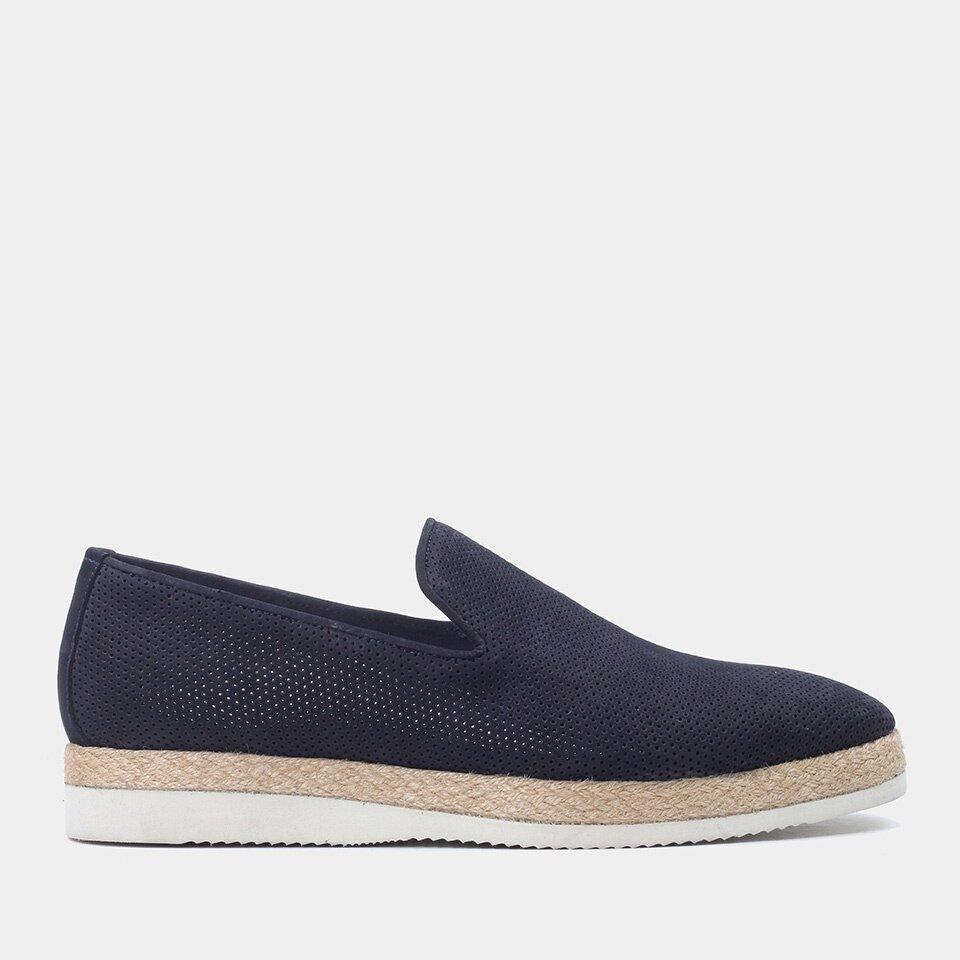 Hotiç - 02AYH177830A680 - Hakiki Deri Lacivert Erkek Spor Ayakkabı
