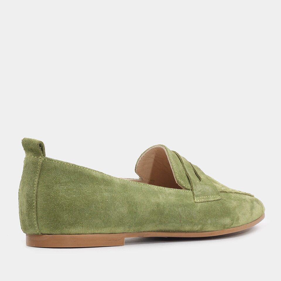 resm Hakiki Deri Yeşil Kadın Loafer