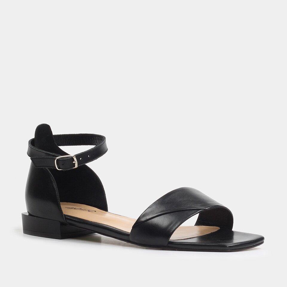 resm Hakiki Deri Siyah Kadın Düz Sandalet