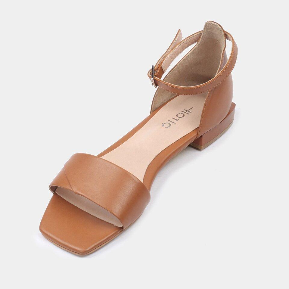 resm Hakiki Deri Taba Kadın Düz Sandalet