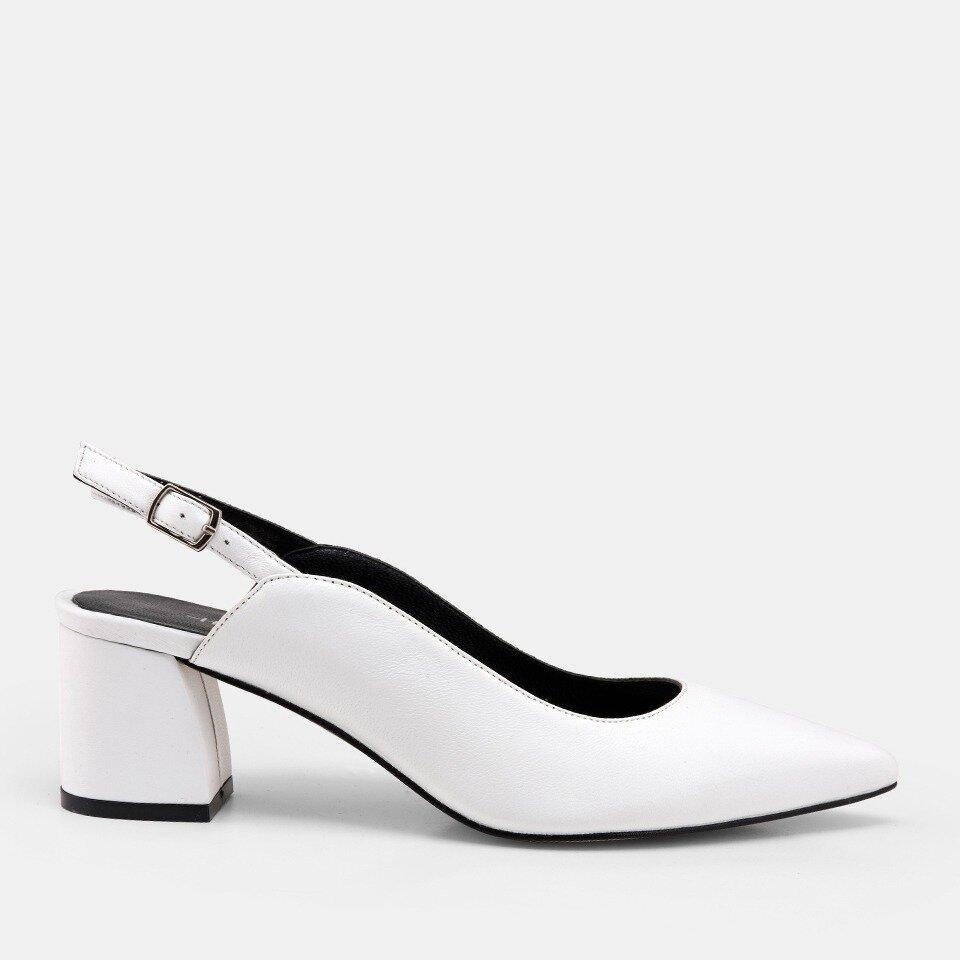 resm Hakiki Deri Beyaz Kadın Stiletto
