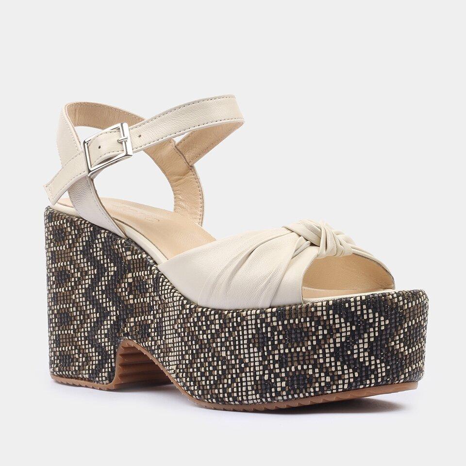 resm Hakiki Deri Kemik Kadın Topuklu Sandalet