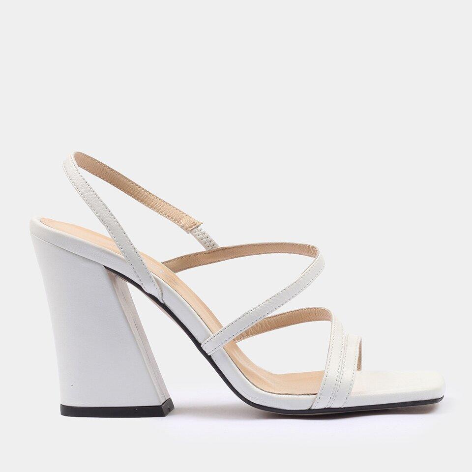 resm Hakiki Deri Beyaz Kadın Topuklu Sandalet