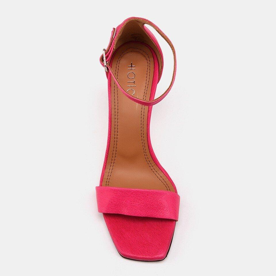 resm Hakiki Deri Fuşya Kadın Topuklu Sandalet