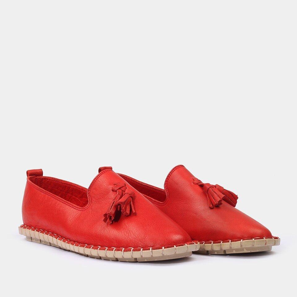 resm Hakiki Deri Kırmızı Yaya Günlük Ayakkabı