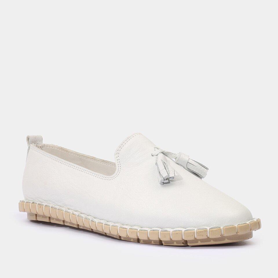resm Hakiki Deri Beyaz Yaya Günlük Ayakkabı