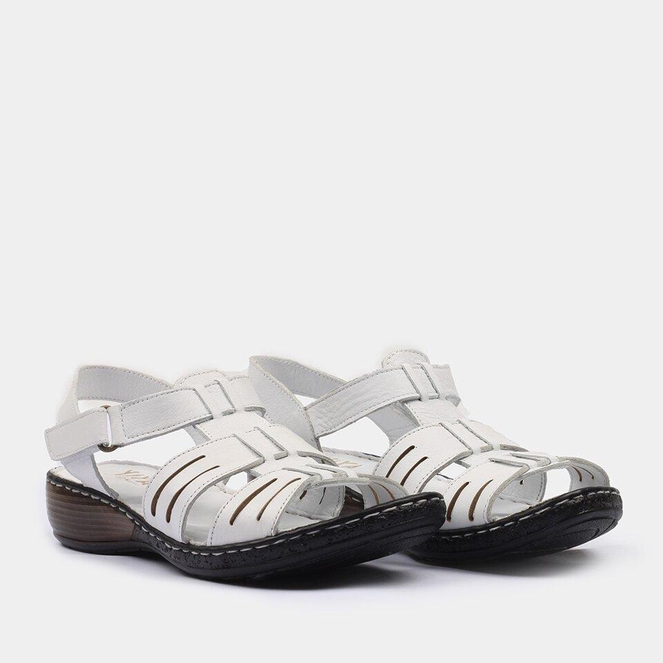 resm Hakiki Deri Beyaz Yaya Sandalet