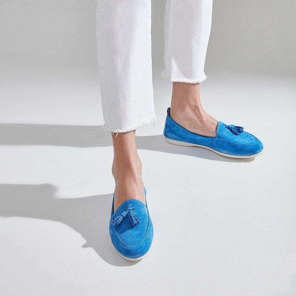 resm Hakiki Deri Mavi Kadın Loafer