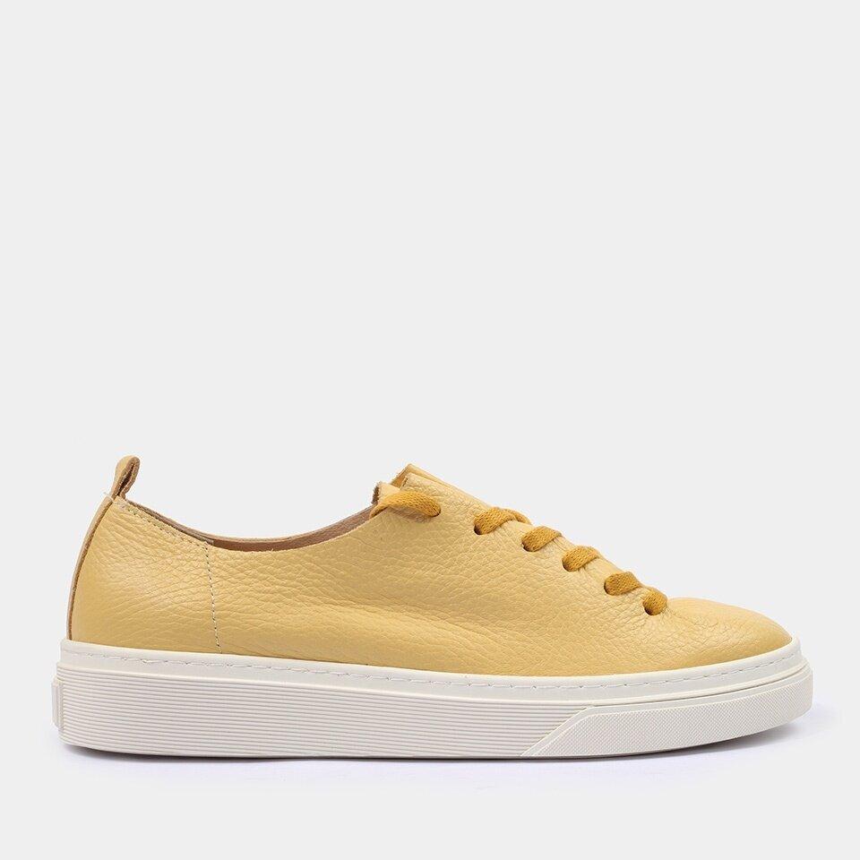 resm Hakiki Deri Sarı Kadın Spor Ayakkabı