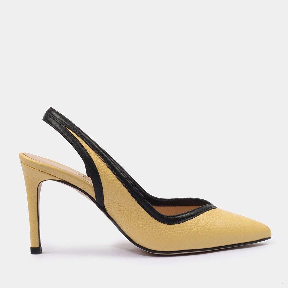 resm Hakiki Deri Sarı Kadın Stiletto