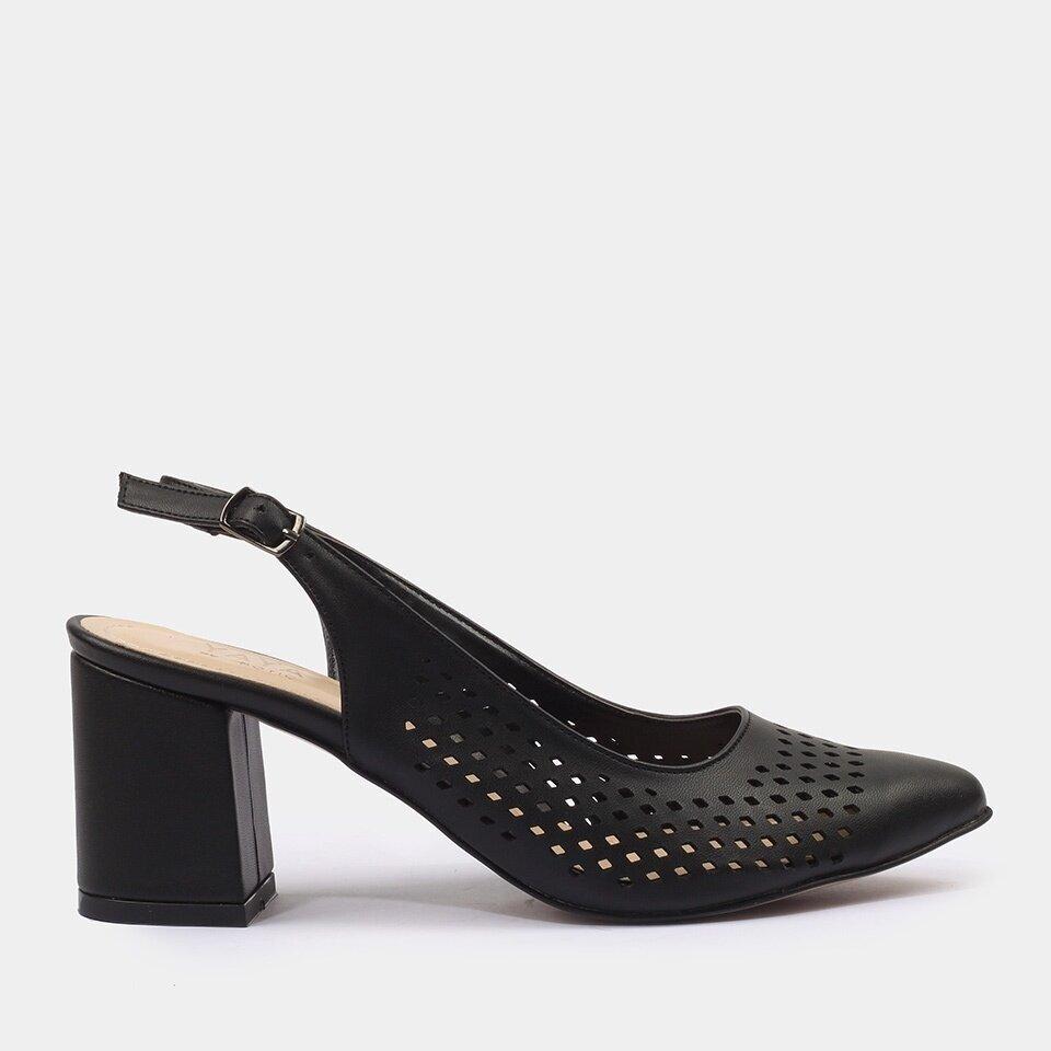 resm Siyah Yaya Kadın Topuklu Ayakkabı