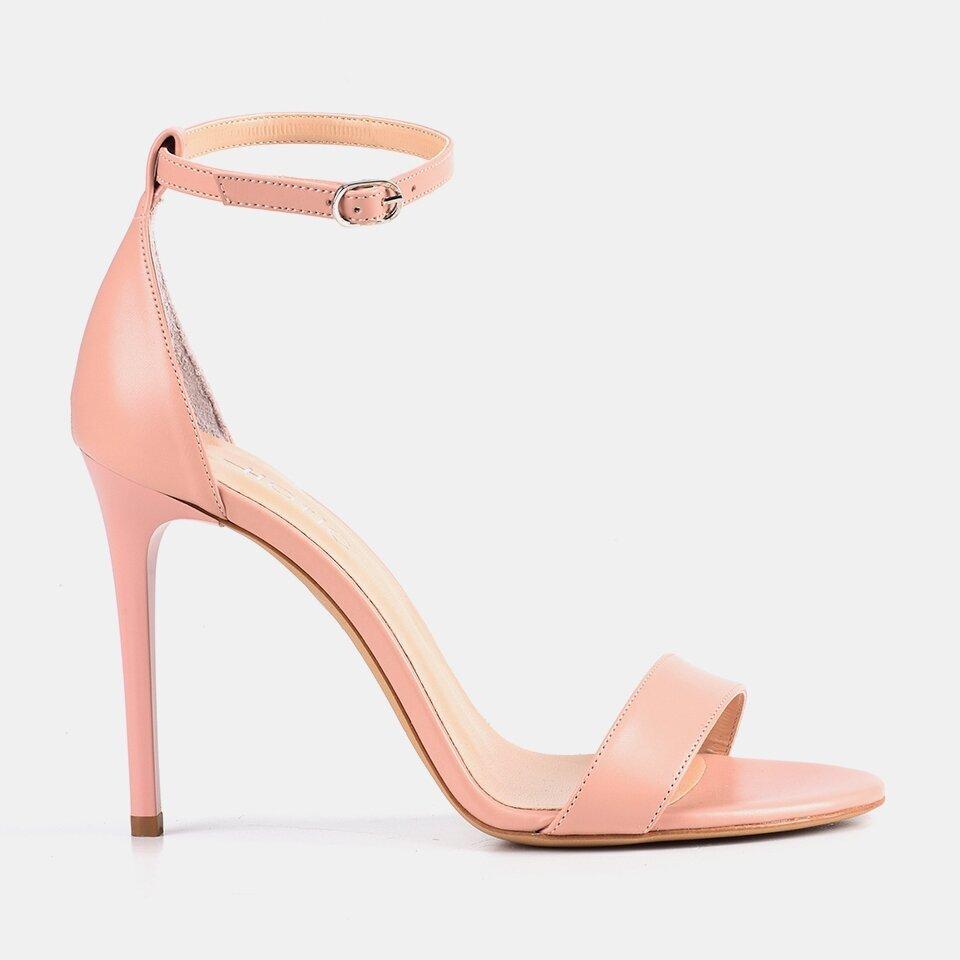 resm Hakiki Deri Pudra Kadın Topuklu Sandalet