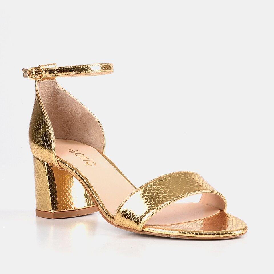 resm Hakiki Deri Gold Kadın Topuklu Sandalet