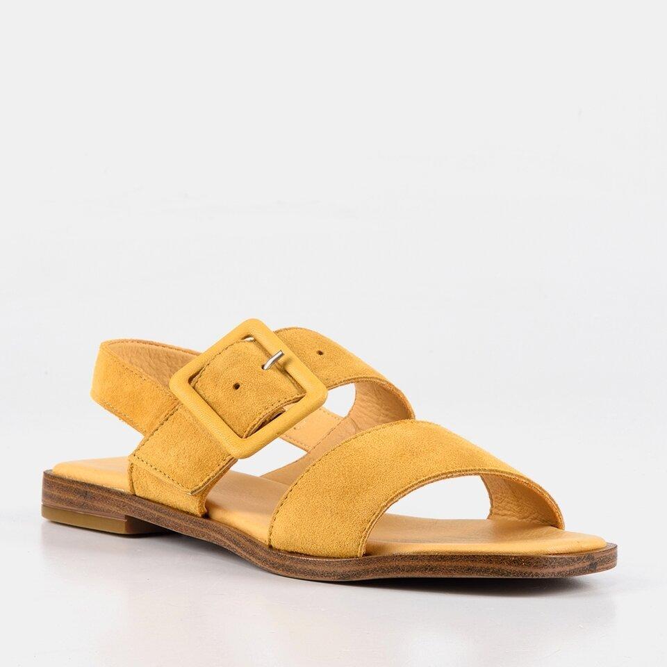 resm Hakiki Deri Sarı Kadın Düz Sandalet