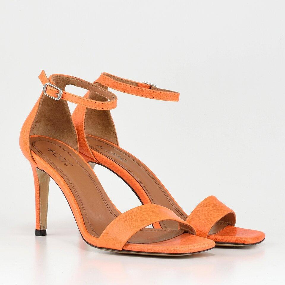 resm Hakiki Deri Turuncu Kadın Topuklu Sandalet