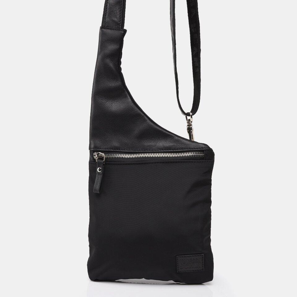 resm Teks. ve  Deri Siyah Kadın Mini (Çapraz) Çanta